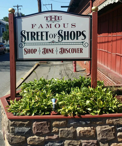 The Famous Street of Shops Sign